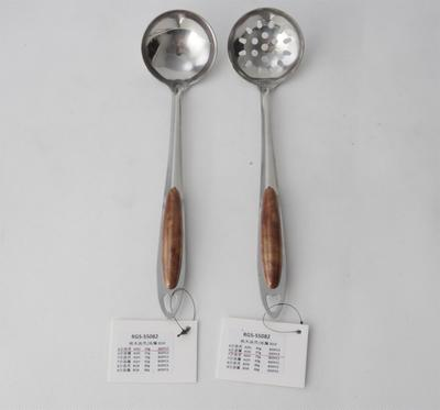 Stainless Steel Soup Leak And Spoon With Peach Wood 201# RGS-S5082